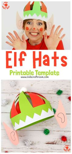 Kids will love this fun Christmas craft. Make a colourful Elf Hat Craft with ears! They're easy to make with the printable pattern. Available in black/white and colour with 4 multicultural skin choices. Christmas hat fun for kids and grown ups! #kidscraftroom #christmascrafts #elf #elves #elfcraft #elfhat #kidscrafts #printablecrafts #papercrafts Christmas Activities For Kids, Preschool Christmas, Diy Crafts For Kids, Kids Diy, Craft Ideas, Diy Christmas Hats, Craft Projects, Christmas Crafts For Kids To Make At School, 31 Ideas