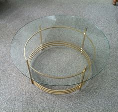 Mid Century Art Deco Style Round Glass Top & Gold Coffee Table Shabadashery. Antiques and Collectibles in Troy, New York.