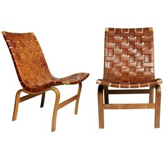 Rare Pair Of Eva Chairs In Leather By Bruno Mathsson