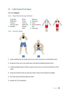 22. Goblet Squat/Front Squat Skill Level: Beginner 22.1. Main Muscle Groups Worked Lower Back Middle Back Trapezius Lat...