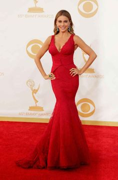 """Sofia Vergara looks amazing in a curve-hugging dress at the 2013 Emmy Awards. How about what the """"Modern Family"""" bombshel. Dresses 2013, Nice Dresses, Celebrity Red Carpet, Celebrity Dresses, Celebrity Style, Celebrity Women, Celebrity News, Vera Wang Gowns, Vera Wang Dress"""
