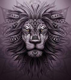 Эскиз льва с орнаментами