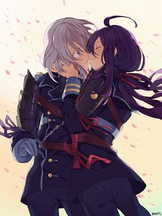 I've only been playing Touken Ranbu for a week and I've already fallen so deep into this hell it's not even funny ; Namazuo (Right) and Honebami (. Anime Girlxgirl, Kawaii Anime, Yuri Anime, Chica Anime Manga, Haikyuu Anime, Anime Art, Cute Girl Drawing, Cute Drawings, Akuma No Riddle