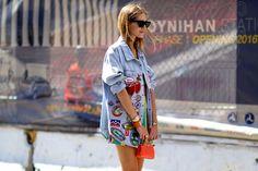 Chiara Ferragni in a patched denim jacket at New York Fashion Week. Photo: Imaxtree