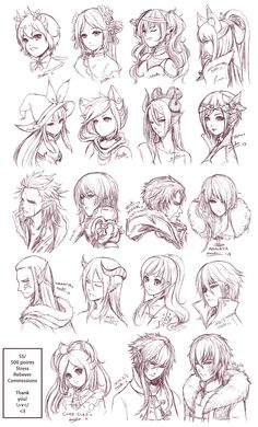 Inspiration: Hair & Expressions ----Manga Art Drawing Sketching Head Hairstyle---- [[[Batch6 by omocha-san on deviantART]]]