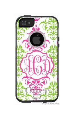 Personalized Preppy Damask Otterbox phone case.