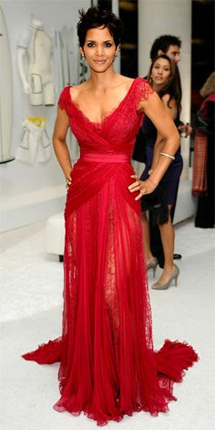 Halle Berry in red Elie Saab gown