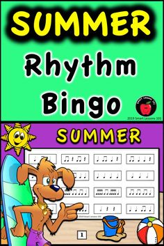 Summer Music Rhythm Bingo: Summer Music Game: Music End of the Year Activity Music Sub Plans, Music Lesson Plans, Music Theory Games, Rhythm Games, Music Games, Music Activities For Kids, Music For Kids, Music Bingo, Bingo Games