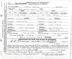 Marriage certificate for Mary Bulifant Anderson to John Dudley Williams