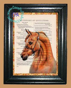 Red Sorrel Horse - - Vintage Dictionary Book Page Art-Upcycled Page Art,Wall Art,Collage Art, Equine Art, Wild Horse by CocoPuffsArt on Etsy