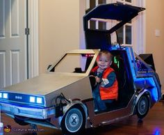Daniel: Baby Marty with his time machine, foam board over a wooden frame with lots of LED lights.