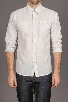 classic casual white button up