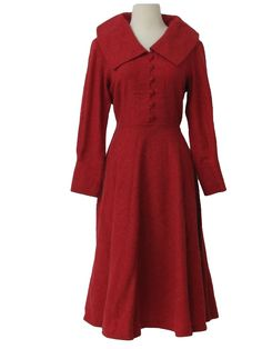 50s -Missing Label- Womens tight woven red wool mid length new look dress with thick fold over collar, modest v-neckline, button front half placket, replaced side zip closure, double darted bust, three button cuffs at base of three quarter length sleeves and empire waistline that falls to very full hoop skirt.