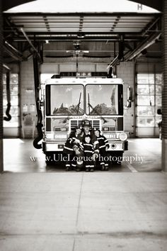 Firefighter with his sons - family photography. Father & Son portraits. www.uleloguephotography.com