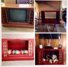 Old tv turns into pet bed