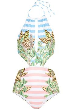 Mara Hoffman's swimsuit has cutout sides that draw attention to the smallest part of your frame. It's made from two layers of sculpting stretch fabric printed with duck-egg blue and pastel-pink stripes, as well as tropical fronds. We like how the high-rise silhouette provides moderate coverage and flatters your curves.