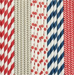 Navy and Red Nautical Boy- Sailor theme // Chevron Stripe Straws // Polka Dot Paper Straws TheSimplyChicShop