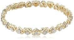 Best Bracelets For Women | 18k Yellow Gold Over Sterling Silver Miracle Plate Diamond Accent Hearts Bracelet 725 >>> See this great product.(It is Amazon affiliate link) #american