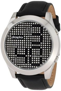 "Phosphor Men's MD006G Appear Collection Fashion Crystal Mechanical Digital Watch Phosphor. Save 10 Off!. $179.00. Creates a distinctive sound unique to the phosphor appear. Water-resistant to 165 feet (5 atm). 12 hour display with 'seconds' and 'off' modes. ""off"" mode, showcases the entire face of crystals with no time display.. Unique mechanical digital movement with Swarovski? crystals that revolve to reveal the passing time. Stainless steel case Swarovski crystal top ring"