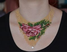 Beadwork Rose Necklace Beadweaving Fringe Necklace. Seed Bead Choker Necklace, by Trendydeals