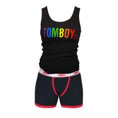 TomboyX Pride Tank & Boxer Briefs - Black Combo