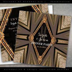 Art Deco Goldy Romance Dinner Party Invitations Announcements | designed by webgrrl #customizable