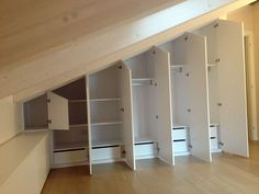 Diy home decor Attic Bedroom Ideas Angled Ceilings, Attic Bedroom Storage, Attic Master Bedroom, Attic Rooms, Closet Bedroom, Attic Spaces, Ranch House Remodel, Closet Renovation, Tiny House Stairs