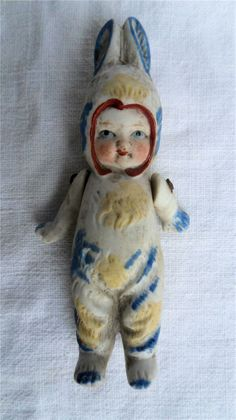 Antique Bisque Dolls house Doll with Articulated Arms C1920