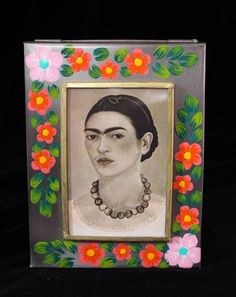 Floral Hand Painted & Mirror Box, Self-Portrait of Frida Kahlo, Mexican Folk Art