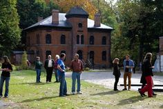 Visitors in front of an 1865 office building, at the reopening of West Point Foundry Preserve on Saturday Mark Abramson for The Wall Street . Wall Street, Street View, Residential Real Estate, Industrial Revolution, New Chapter, Historical Sites, New Life, Preserve, Building