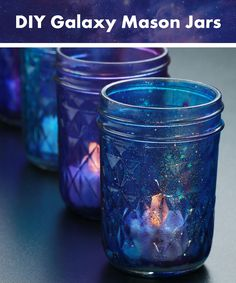 Light up your room with these moody candle jars! Just decorate the outside of the mason jar with some glitter to give the galaxy design effect to it, and add a battery powered tea light inside and wala! You have a nice decoration for inside or outside. http://www.flashingblinkylights.com/light-up-products/light-up-decorations/flickering-led-candles.html