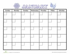 Worksheets: January Calendar