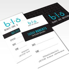 BLO-Beauty.Love.Obsession - Business Cards  Personal and general business cards/appointment cards created for a new blow dry bar and hair salon opening in Newbury Park.