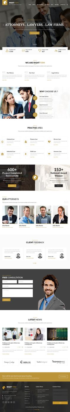 RIght firm is professional, modern Bootstrap HTML template for law, #lawyer, business and related to any legal #company #website. Download Now!