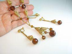#Vintage Egyptian Czech Glass Art Deco Necklace Set by bohemiantrading #teamlove #vogueteam #ecochic