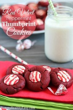 Red Velvet Peppermint Thumbprint Cookies   moist red velvet cookies with a candy cane kiss melted in the middle. Pretty and delicious!