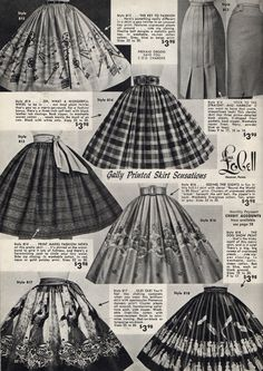 Skirts, many with fabulous novelty prints, from Lana Lobell 1958. #vintage #1950s #skirts #fashion