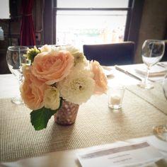 Wedding reception table piece with peach garden roses and white dahlias (Foreign Cinema, San Francisco, CA)