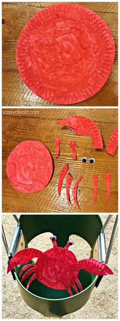 Crab Paper Plate Craft for Kids #DIY #Crab art project
