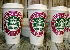 Bridesmaid Gifts Starbucks Coffee Cup Personalized with Name Mug Tumbler (Genuine Starbucks Cup Reusable) [wedding party gift idea] by CleverHollyDesigns on Etsy Starbucks Cup, Starbucks Tassen, Starbucks Wedding, Gifts For Wedding Party, Party Gifts, Our Wedding, Dream Wedding, Wedding Ideas, Rustic Wedding