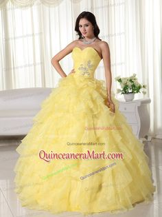 Cheap Yellow Beading Ruffles Ball Gown Sweet 16 Dresses with Sweetheart