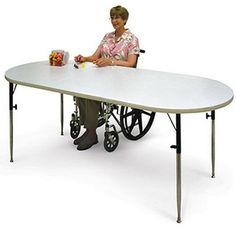 Oval Extension Wheelchair Accessible Multipurpose Table