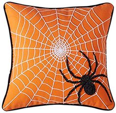 Cassiel Home Halloween Decoration Throw Pillow Cover Embroidery Scary Black Spider with Web on a Chilling Orange Pillow Cover for Home Couch Sofa Cute Scary Gift for Boys Girls Halloween Fabric Crafts, Whimsical Halloween, Halloween Pillows, Halloween Quilts, Halloween Ornaments, Halloween Party Decor, Halloween Kids, Halloween Stuff, Adornos Halloween