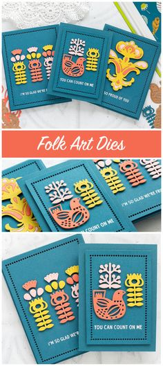 Folk art inspired handmade cards by Debby Hughes using Spellbinders dies. Find out more: http://limedoodledesign.com/2018/04/folk-art-inspired-cards-spellbinders-april-blog-hop/