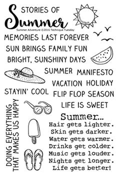 "TECHNIQUE TUESDAY: Summer Adventure (4"" x 6"" Clear Photopolymer Stamp) This clear photopolymer stamp set is great for your cards, pocket scrapbooks, and more. Set measures approximately 4"" x 6"" and co"
