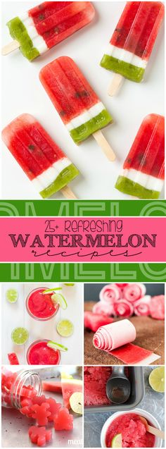 More than 25 recipes for refreshing watermelon treats including Watermelon Milkshakes, Watermelon Lemonade, and Watermelon Fruit Leather! Watermelon Recipes, Fruit Recipes, Summer Recipes, Sweet Recipes, Snack Recipes, Dessert Recipes, Watermelon Lemonade, Watermelon Fruit, Fruit Salad