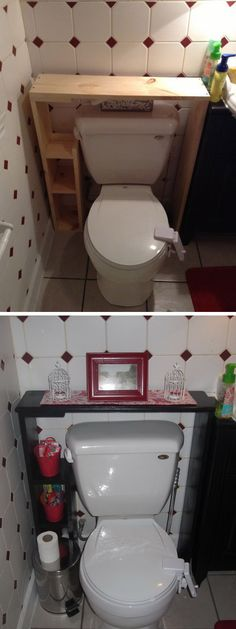 This DIY shelf over the toilet adds more storage space while also making the bathroom feel more open. It is simple to make and costs less than the price of a new wall cabinet. http://hative.com/over-the-toilet-storage-ideas-for-extra-space/