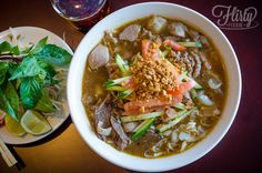 pho saté: a pimped out version of the original with a richer broth that's laced with peanut and saté sauce