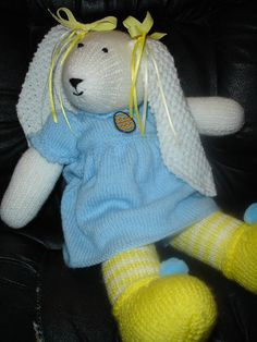 Knitted Easter Bunny Blue