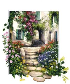 Decoupage in the hill - ART Watercolor Painting Garden Painting, Garden Art, Cool Paintings, Beautiful Paintings, Watercolour Painting, Painting & Drawing, Landscape Art, Landscape Paintings, Kinkade Paintings